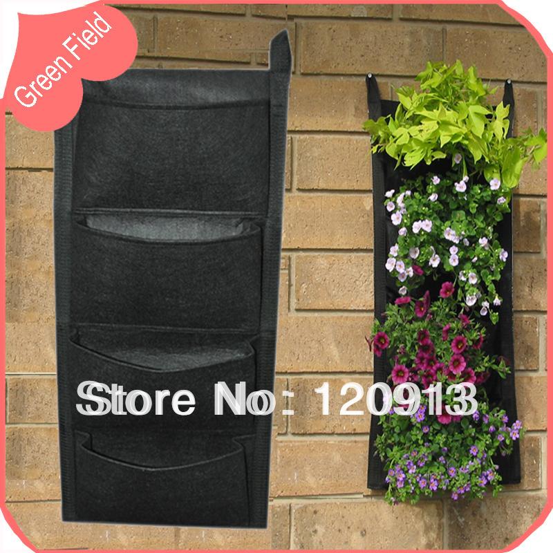 versandkosten frei neuheit 4 taschen vertikalen garten blumenkasten wand montiert f hlte blume. Black Bedroom Furniture Sets. Home Design Ideas