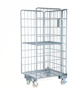 4 Wheels Heavy Duty warehouse Steel Wire Rolling Cage Cart