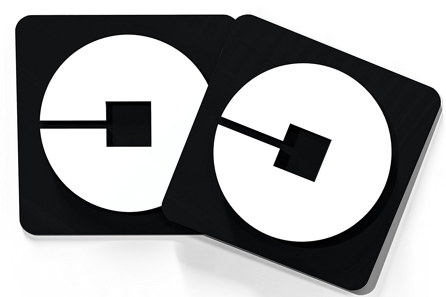 "2 - Pack. 5"" x 5"" - Black/White Uber Logo Car Magnet. Highly Durable; Weatherproof Car Magnet - Sign for Uber, Lyft, and Taxi Drivers - (Not A Sticker) Satisfaction Guranteed (Uber Black)"