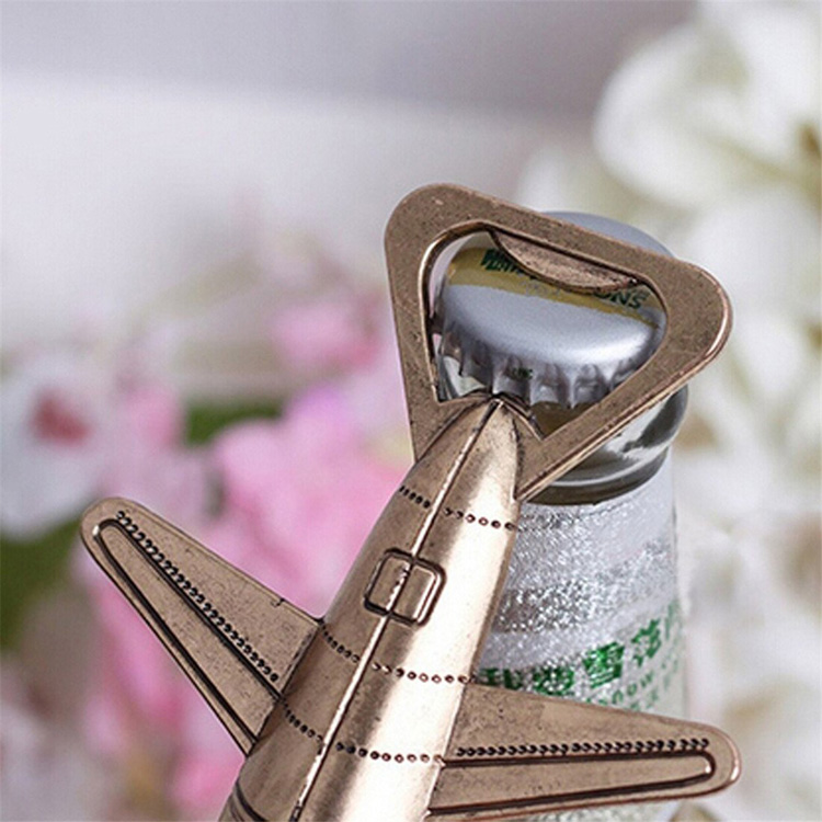 Eco-Friendly Stocked Wedding Party Favor Wine Themed Zinc Alloy Airplane Bottle Opener