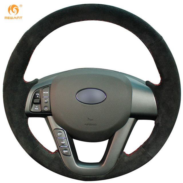 Top Sale Interior Accessories Hand Sewing Suede Leather Steering Wheel Cover Wrap for Kia K5 2011 2012 2013 Kia Optima