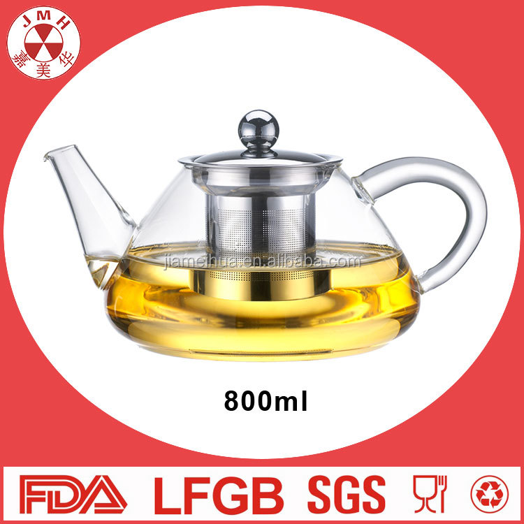 800ml Fire directly 2 4 6 cup tea pot india stainless steel filter teapot heat resistance glass teapot