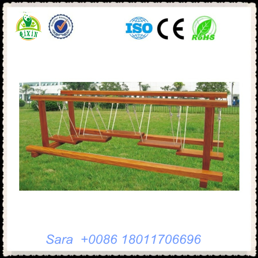 Child skills wooden training playground outdoor amusment park bridge smart kids sport activities QX-18073B