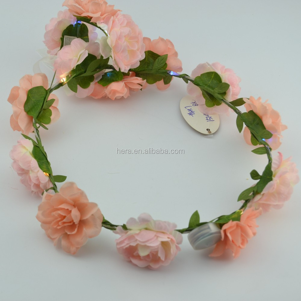 Hair Flower Accessories Fabric Led Flowers Crown With Wrist Set To