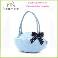 Lightweight Polka Dot Ribbons Bow Trim Women Cotton Quilted Purses Bag Wholesale Quilted Purses Bag
