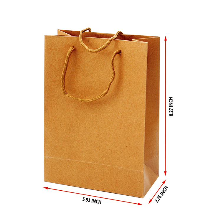 High quality recycled logo custom printing gift brown kraft Paper Shopping Bag with handle