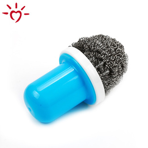 OEM handle dish steel wire kitchen cleaning dish-washing brush scourer with handle