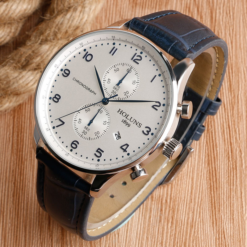 HOLUNS Original Mens Watches Luxury Brand Chronograph Men's Business Casual Leather Dress Calender Hour Clock Relogio Masculino 2017 2018 Best Gifts for Dad HIM (9)