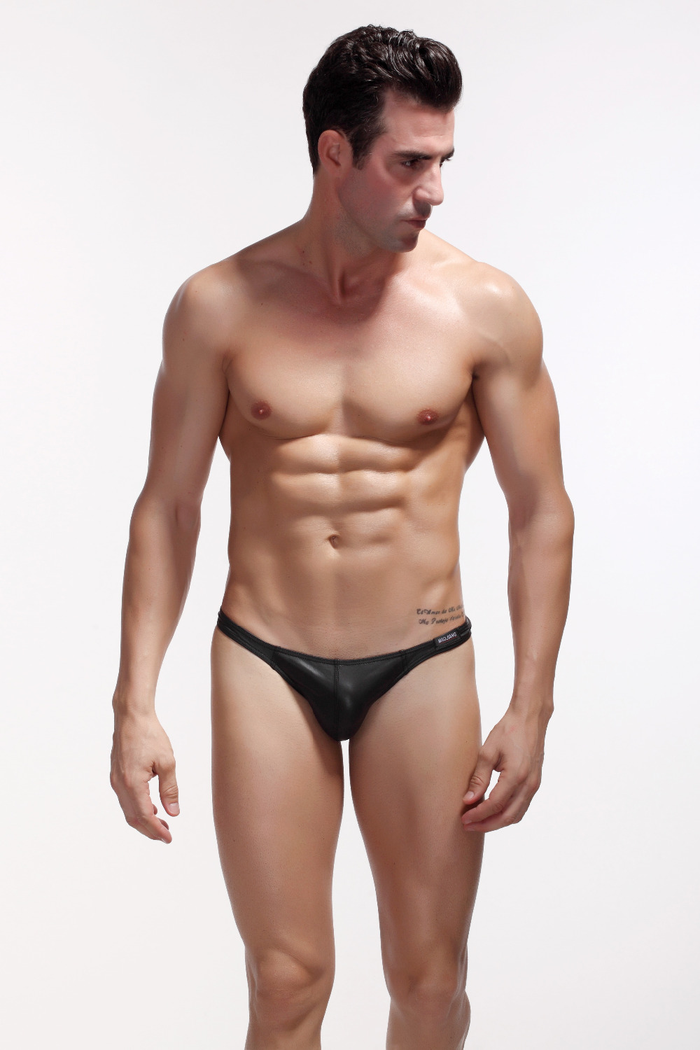 7f411d70a00 Get Quotations · Hot Sell Faux Leather Mens Thongs Black Gay Men Underwear  Sexy Man Thong Men Underwear String