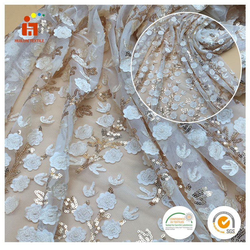 high quality 3d guipure flower tulle embroidery fabrics beads sequin bridal beaded lace fabric
