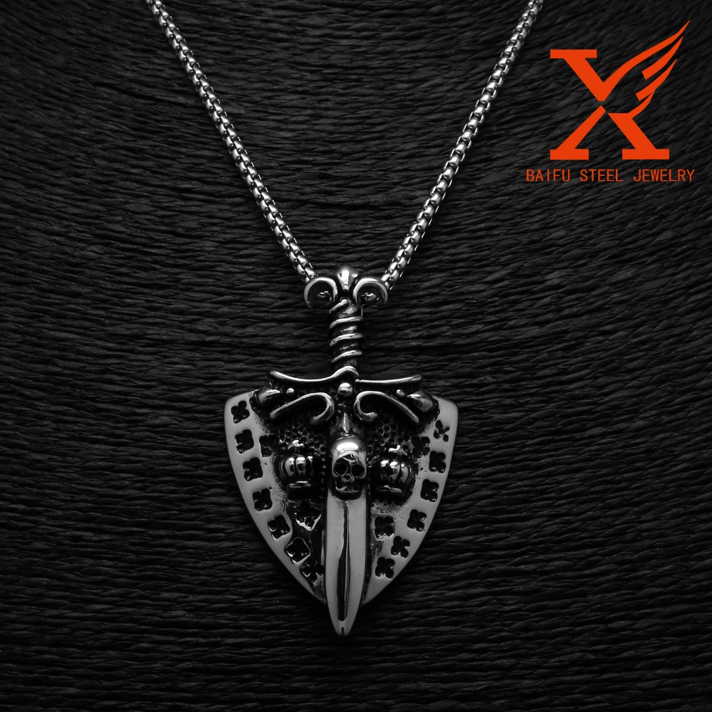 Geminis Knight Sword Shield Skull Pendant Titanium Stainless Steel Mens Cross Jewelry