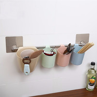 trade assurance magic flexible sticker bathroom hanging plastic toothbrush cup holders with towel bar 5062