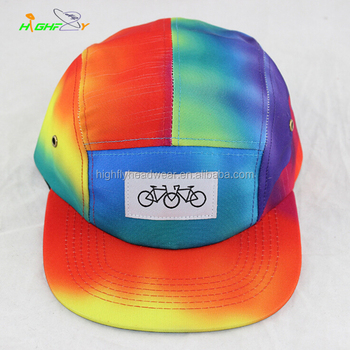 fbea29573d6 wholesale custom plain tie dye colorful 5 panel camper hat and cap with oem your  own