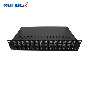 fiber optical media converter 19 inch rack 2U 14port double power DC rack mount Chassis