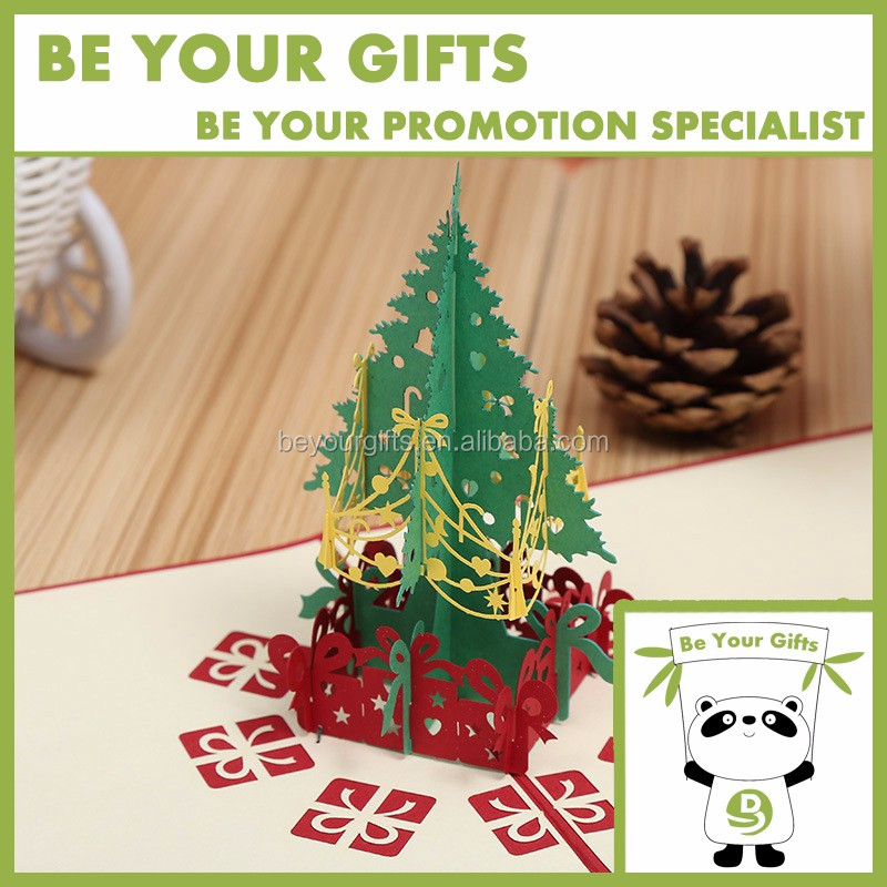 Promotional Custom 3D pop up christmas tree greeting card