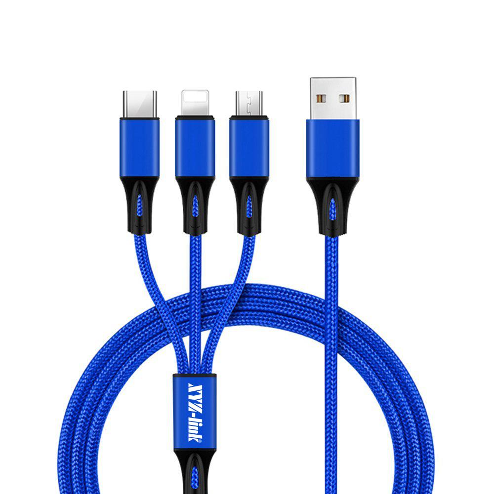 3.0A Cepat Pengisian 3 in 1 Nilon USB Data Charger Kabel