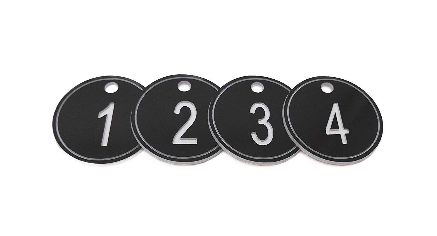 50//100x Key Tags Numbered 1-50//1-100 Number Discs with Chain Rings