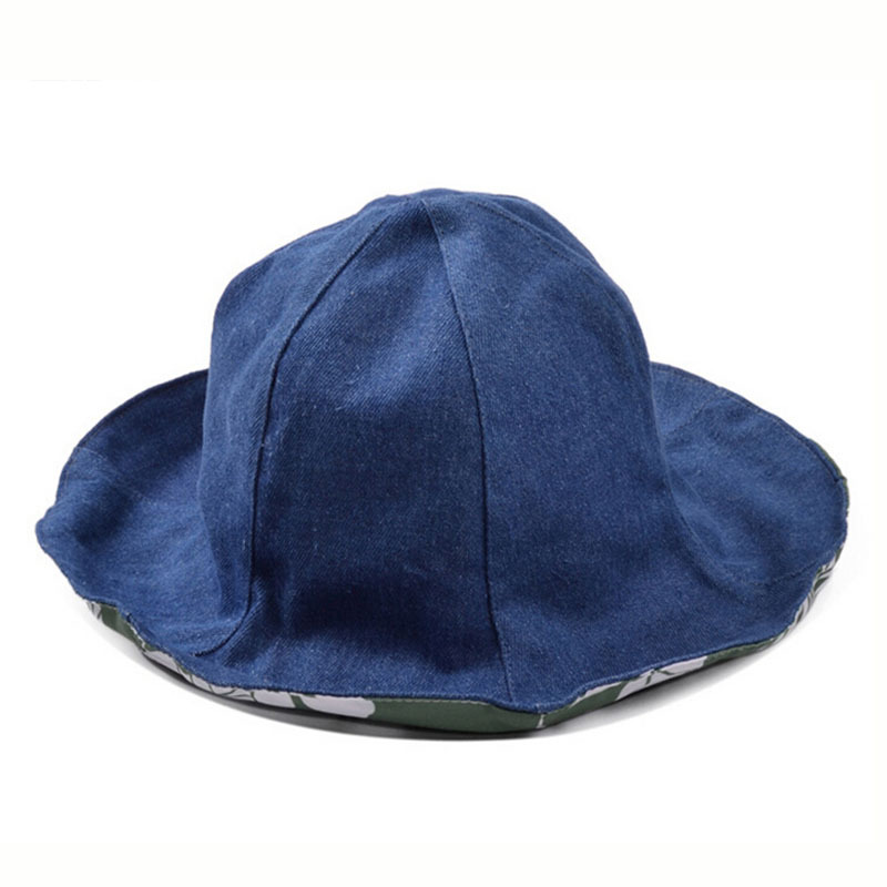 8585892e Get Quotations · Summer Style Bucket Hats For Women Solid Denim Panama Men  Double Side To Wear Fishing Hat
