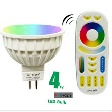 2.4G MR16 RGB+CW+WW LED Spot Light MR16 RGB+CCT Dimmable LED Spotlight Mi Light 4W RGB W WW LED Bulb with RF Touch Remote