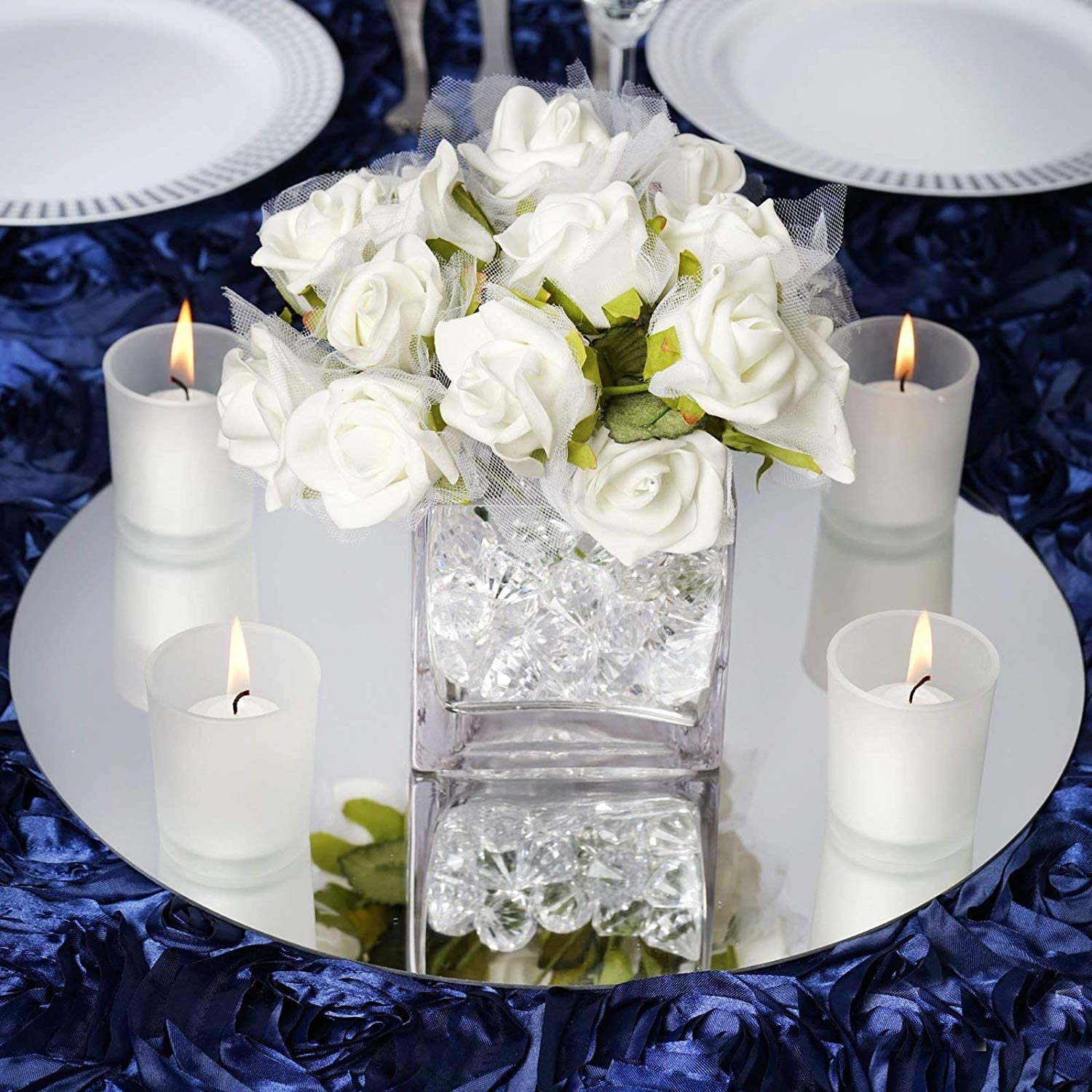 "12/"" Square Glass Mirror Wedding Party Table Decorations Centerpieces 4 PCS"