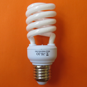 Eurpea used Half spiral mini T2 15W E27 B22 2700K 4000K 6400K energy saving bulb supplied by ningbo factory