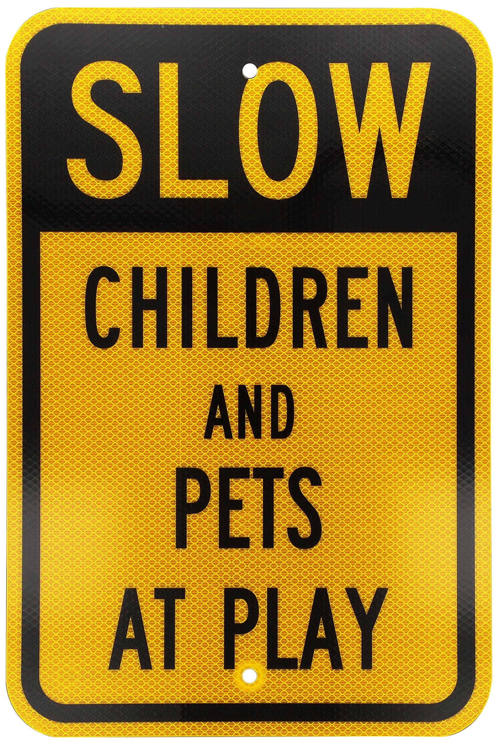 "SmartSign 3M High Intensity Grade Reflective Sign, Legend ""Slow - Children and Pets at Play"", 18"" high x 12"" wide, Black on Yellow"