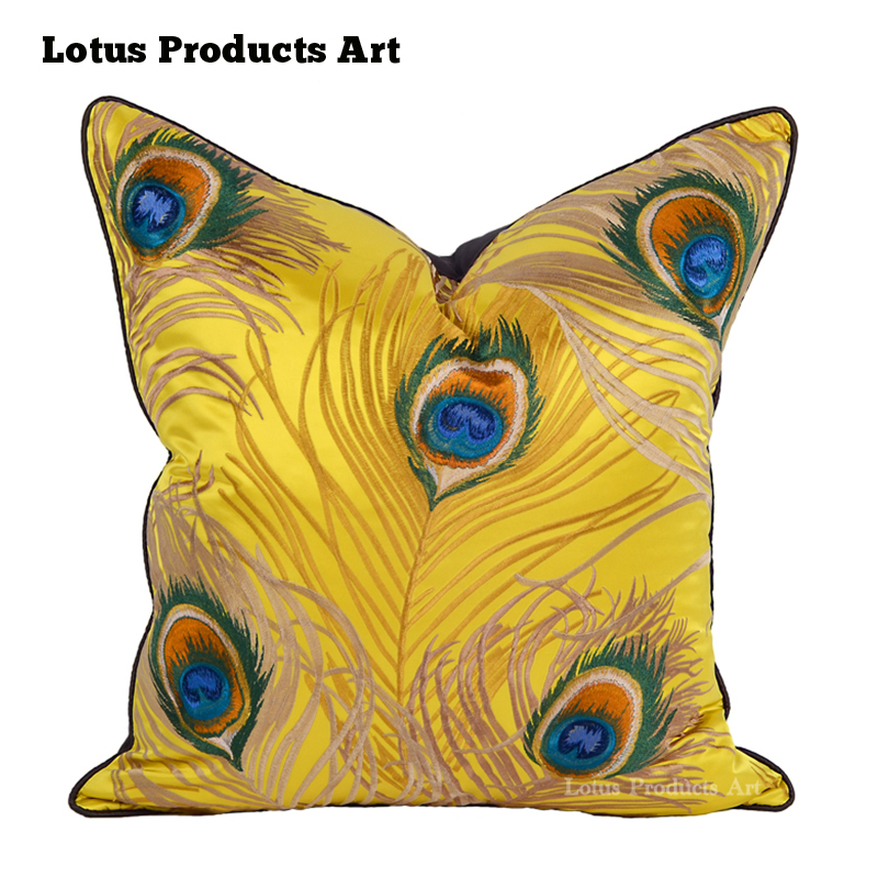 18*18 inches yellow peacock feather cushion cover