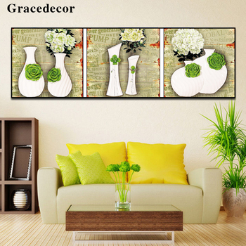 Fashion Design 100 Handmade Indoor 3d Pictures Flower Vase Painting