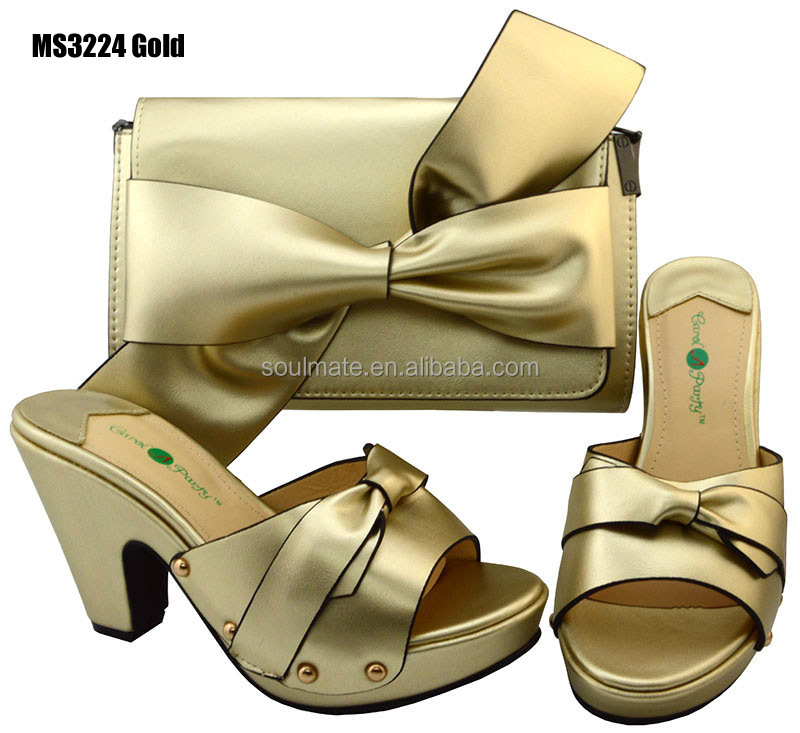 2017 China elegant design ladies Indian shoes matching bags set in Gold