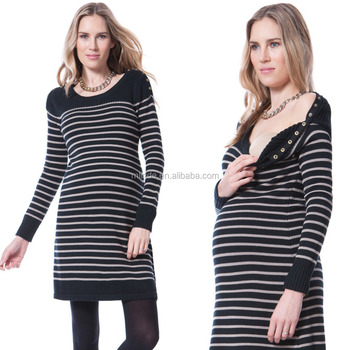 4a8a9db071f 100% coton Long Sleeve Striped Winter Maternity Tunic Tops for Elegant  Pregnant Women Wholesale Custom