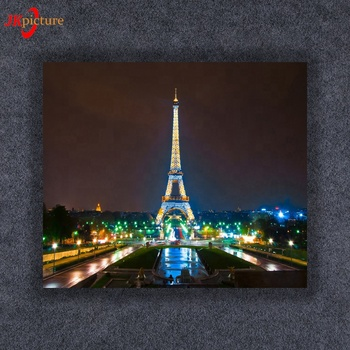 Custom wall decoration night city street building canvas picture with led light  canvas prints picture