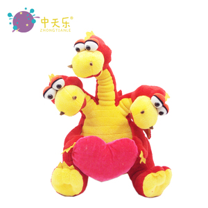 Custom Plush Stuffed Three Heads Dinosaurs Dragon Toy