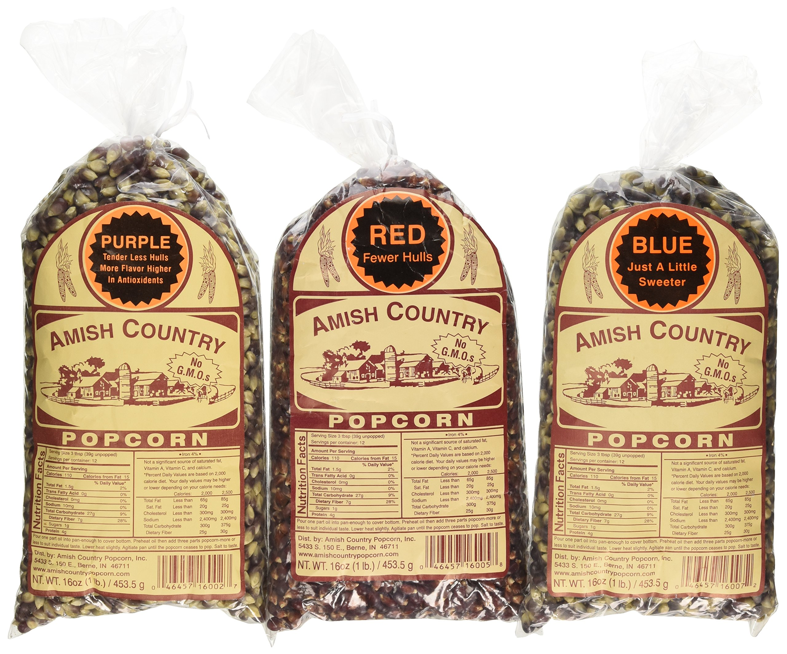 Amish Country Popcorn - 3 (1 lb. Bag Variety) Purple Popcorn, Blue Popcorn and Red Popcorn - with Recipe Guide