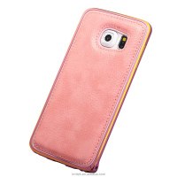 Wholesale Cellphone Lychee Pattern PU Leather Cover + Aluminium Metal frame Back Cover Case For SamsungNote3/4/5/S6/S4/S5