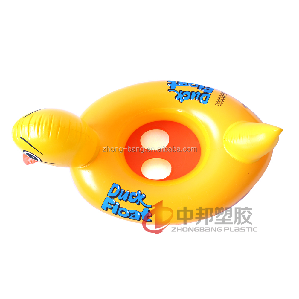 Plastic inflatable Ride On duck Toy for kids to play on the water