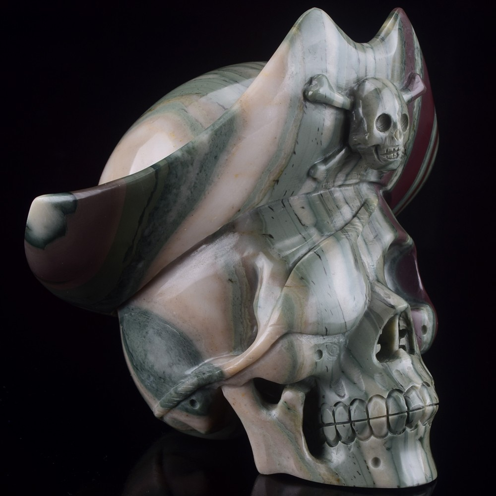 STUNNING, new arrive carved The pirate captain crystal skull for decor & gifts