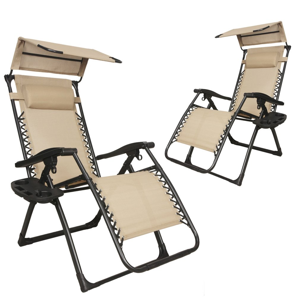 Get Quotations · EACHPOLE |2 Pack| Reclining Infinity Zero Gravity Chair  With Sun Shield Canopy And