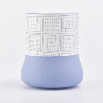 beautiful blue color with unique design for reasonable capacity ceramic candle holder