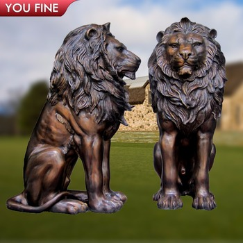 Garden Life Size Bronze Sitting Lion Statue