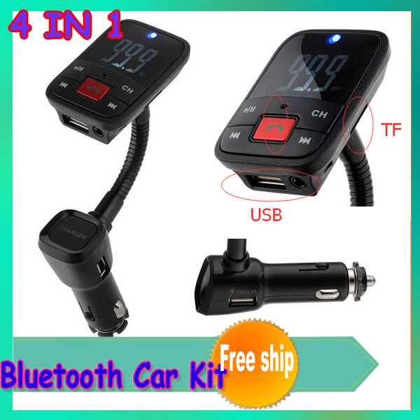 1 шт. 4 в 1 беспроводная Bluetooth fm-передатчик / USB автомобильное зарядное устройство / автомобиль сигарета зажигалка / Bluetooth руки - телефон система