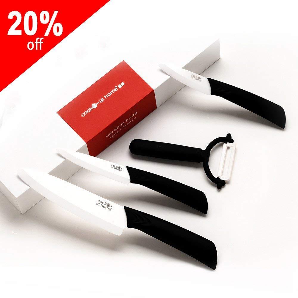 "4 Piece Ceramic Kitchen Knife Set:Includes 6"" Ceramic chef Knife,5"" Ceramic utility Knife,4"" Ceramic fruit Knife,3"" Ceramic Paring KnifeTitle,White Blade(FBA)"