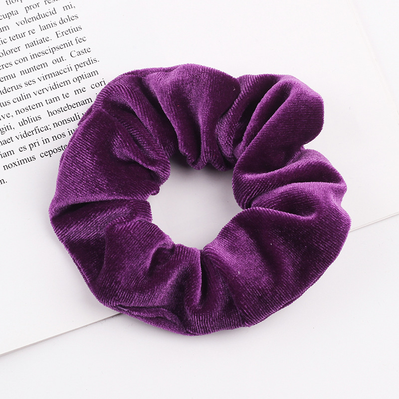 CLARMER 60 Colors Wholesale Fashion Women Hair Accessories Fabric Solid Colors Elastic Hair Ties Velvet Scrunchies