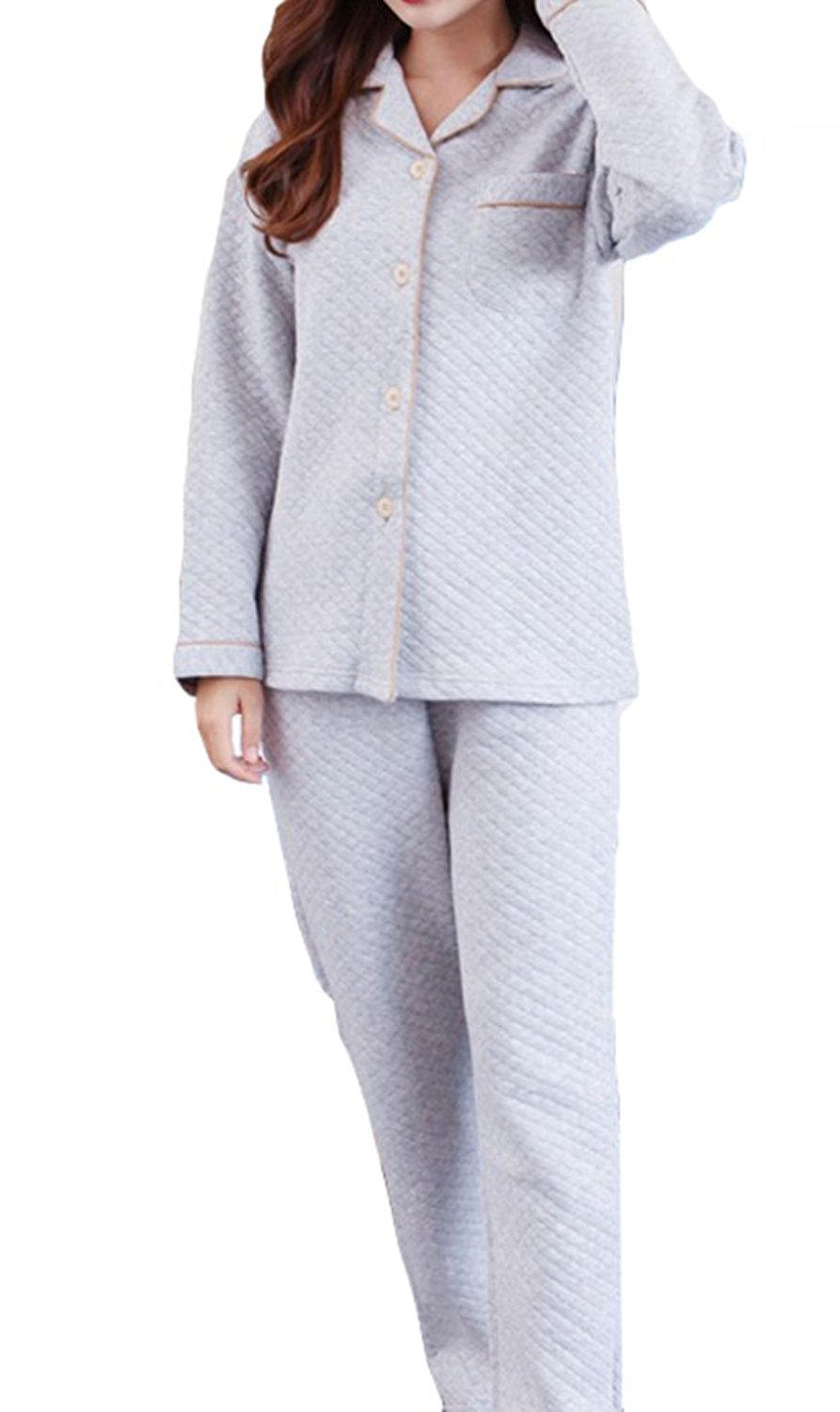 f3c74001d2 Get Quotations · AGOWOO Womens Mens Couples Matching Quilted Cotton Pajamas  Set with Pants