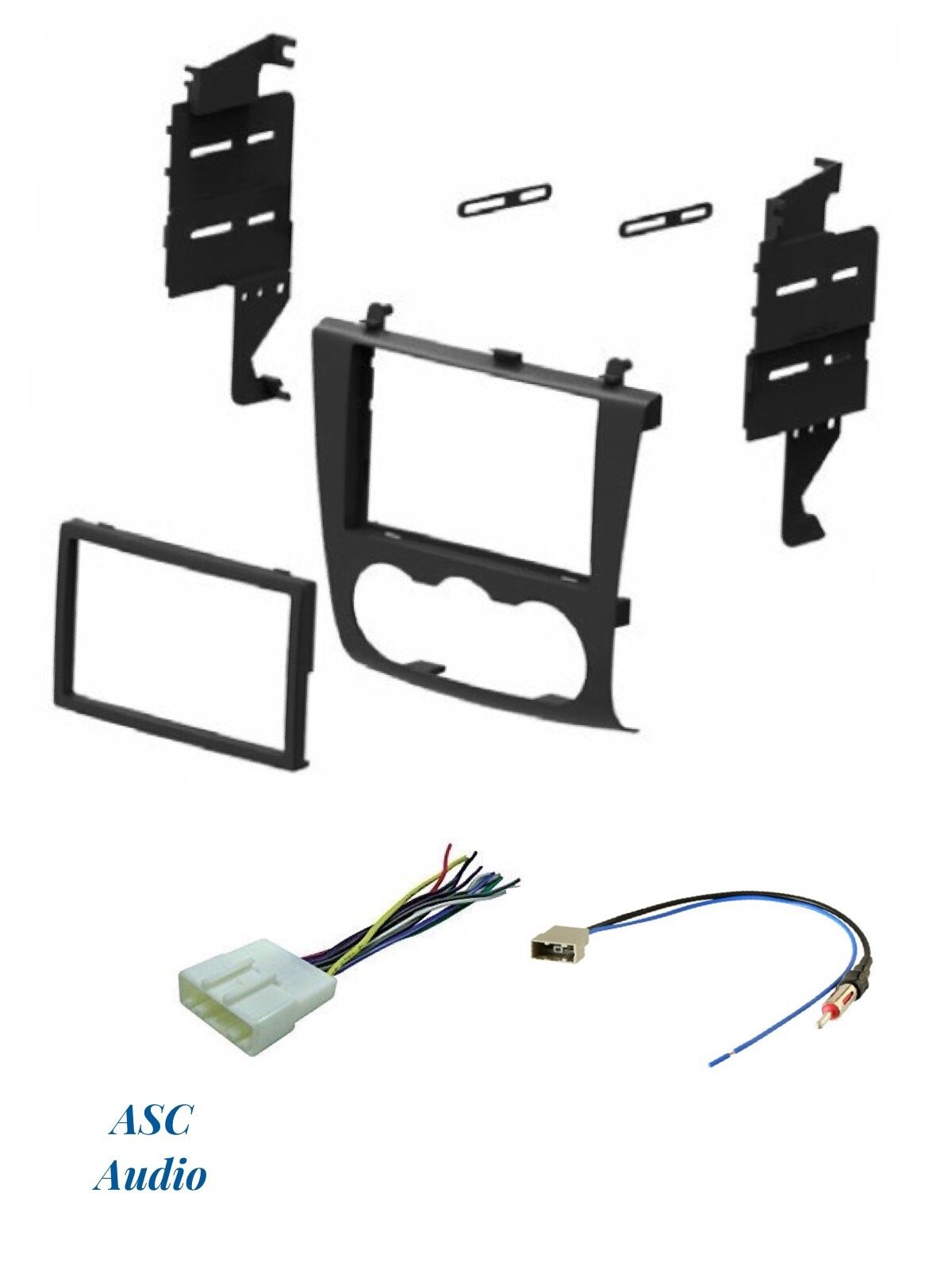 ASC Audio Car Stereo Install Dash Kit, Wire Harness, and Antenna Adapter for installing a Double Din Aftermarket Radio for 2007 2008 2009 2010 2011 2012 Nissan Altima w/Manual Climate Knobs