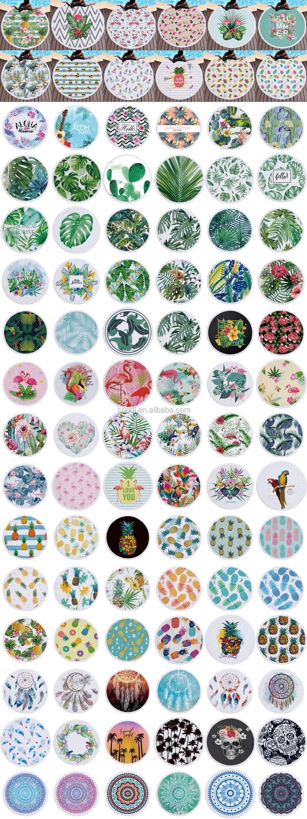 Nouveau design personnalisé microfibre cercle impression ronde serviette de plage