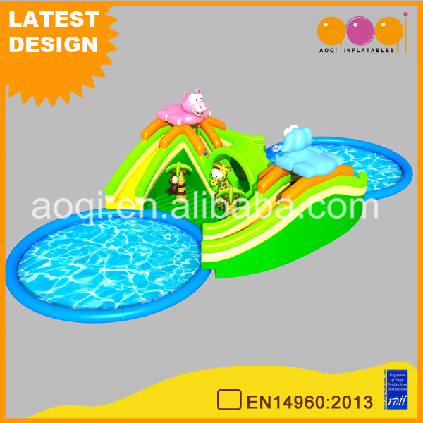 Fun kids zoo theme inflatable backyard water park slides with pools for sale