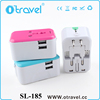 Universal All in One Worldwide Travel Power Plug Wall Ac Adapter Adaptor Charger with Dual USB Charging Ports for USA Eu Uk AUS
