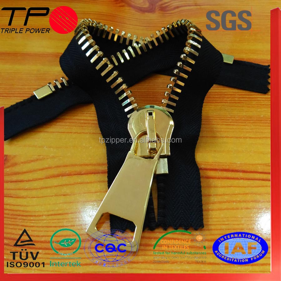 TP ykk 3 way gold metal 3 inches metal zipper open end