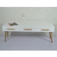 White Design Wood Coffee Table Danish Furniture With Three Drawers
