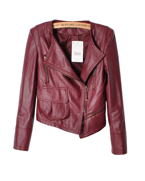 Fashion autumn and winter zipper motorcycle PU clothing female short design slim outerwear women's 2013 leather jacket